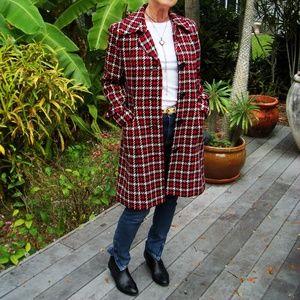 Red, Black, White Plaid Coat